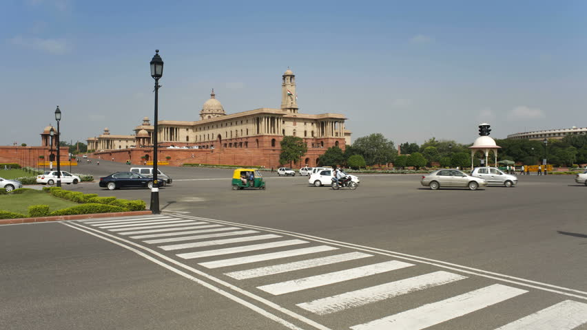 NEW DELHI, INDIA - CIRCA MAY 2011:Raj Path leading to the Parliament Building