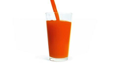 Tomato Juice Pours Into Glass