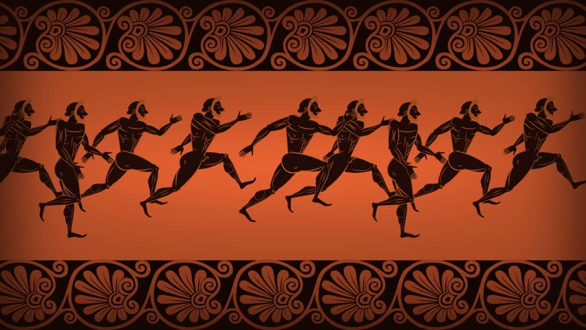 greek crowd runners  animated ancient stock footage video
