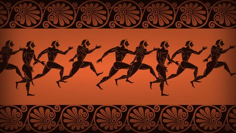 Greek crowd runners. Animated Ancient Olympic Games