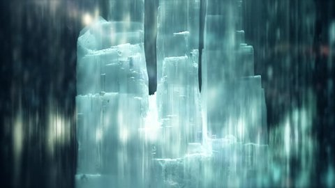 Crystal Selenite in an Abstract Dark Sparkly Ethereal Surrounding