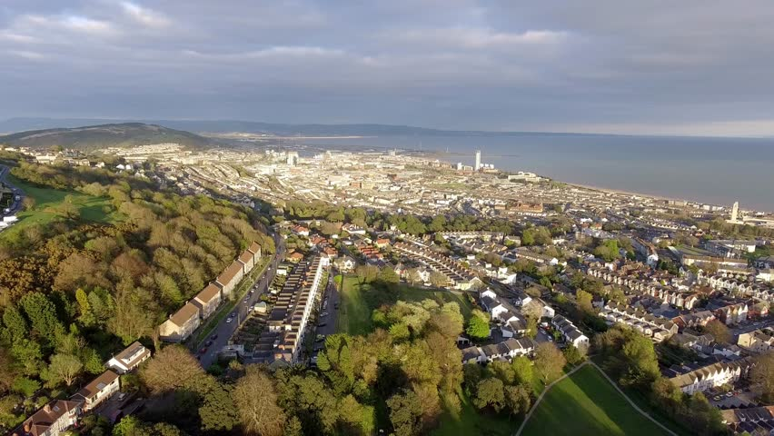 Editorial SWANSEA, UK - APRIL 13, 2017: A view of Swansea east and the Bay, looking towards Port Talbot from Cwmdonkin Park, a favourite haunt of poet Dylan Thomas, in the Uplands area