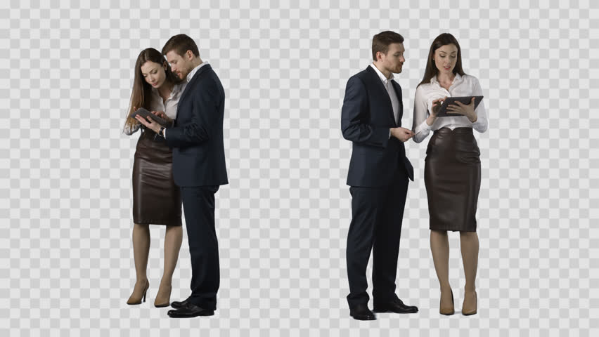 Respectable male and attractive woman are standing and watching at PC tablet. Alpha channel background. Two at one price