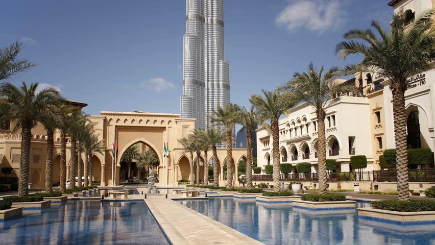 DUBAI, UNITED ARAB EMIRATES - CIRCA MAY 2011: Futuristic Modern Design Structure, the Burj Khalifa shown in the daytime against the blue sky