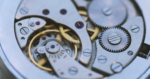 Gears And Mainspring In The Mechanism Of A Pocket Watch