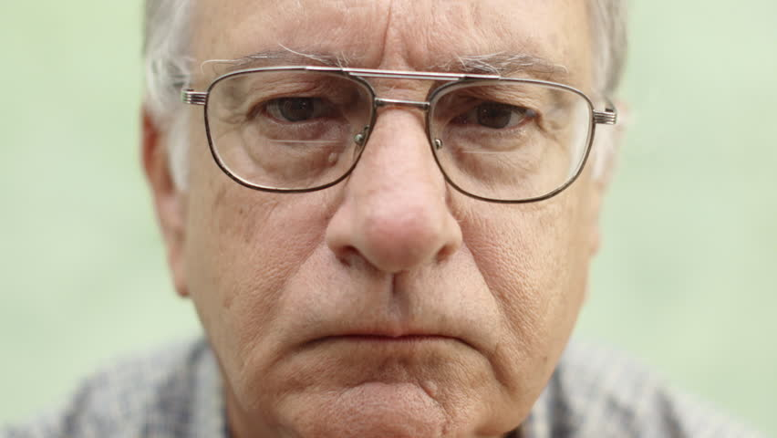 Old People And Emotions, Portrait Of Serious Caucasian Old Man With Glasses Looking At Camera Stock Footage Video 2598299 | Shutterstock