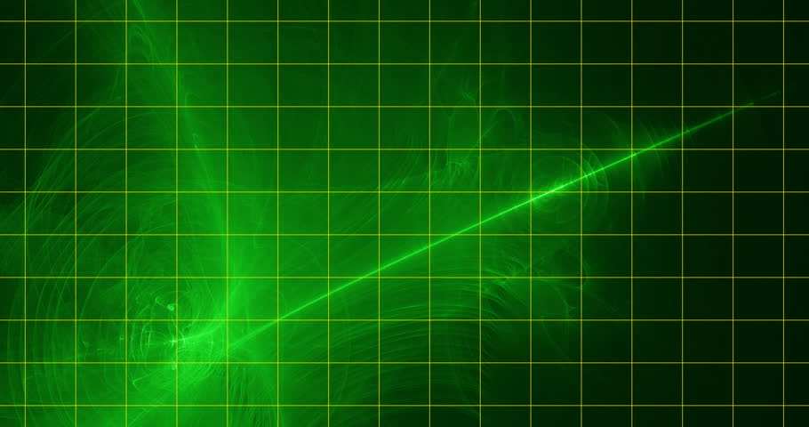 Futuristic Dynamic Background with Flame Fractal Animation for Special and Visual effects aplications and future technology design. Green foreground on the dark green background with yellow grid.