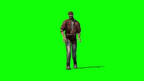 Zombie Walking Front Green Screen 3D Rendering Animation Horror