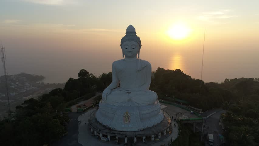 Drone view with Big Buddha in Phuket, Thailand   Shutterstock HD Video #26052569