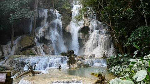 Slow Motion Kuang Si Waterfall in Luang Prabang, Laos