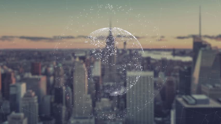 Digital animation of Global world hologram. Holographic rendering Earth, against the background of skyscrapers. illustration of business processes and communications, technology, connection | Shutterstock HD Video #26115899