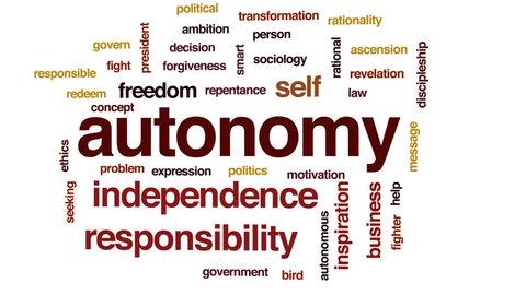 Autonomy animated word cloud, text design animation.