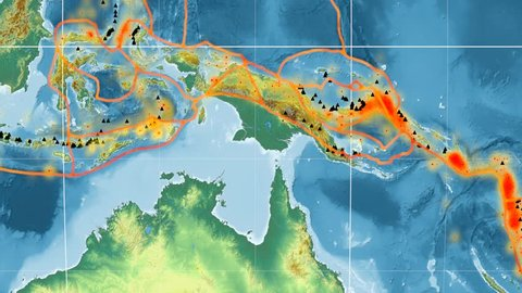 Timor tectonic plate featured & animated against the global relief map in the Kavrayskiy VII projection. Tectonic plates borders (Peter Bird's division), earthquakes, volcanoes
