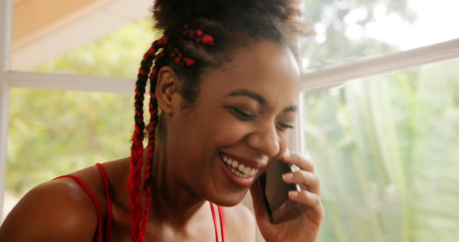 Think, Black girl on phone
