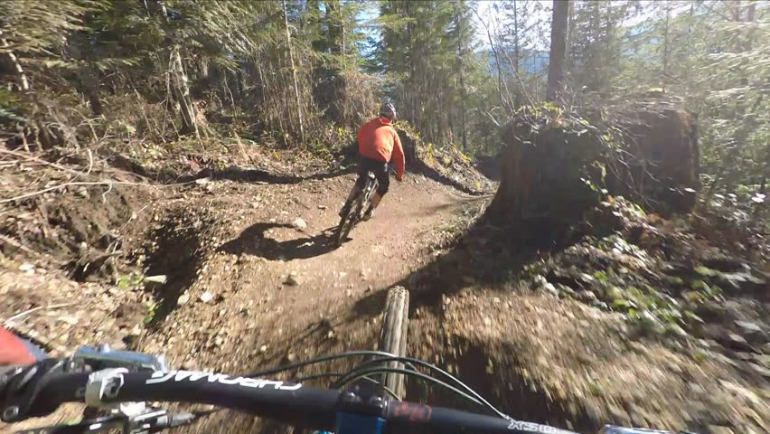 Mountain biking with friends on a sunny day