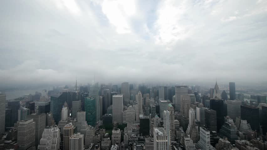 Time-lapse New York City Manhattan skyline cloudy day