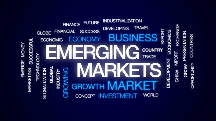 Emerging markets animated word cloud, text design animation.