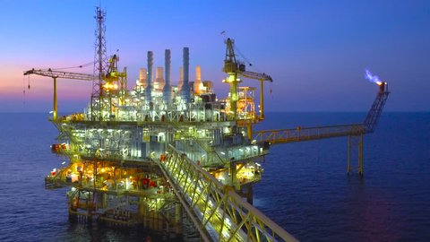 Offshore oil and gas business, Central processing platform produced raw gases and condensate or crude oil then sent gas to onshore refinery and power generation plant and crud sent to tanker.