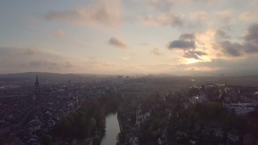 Aerial shot above Bern city