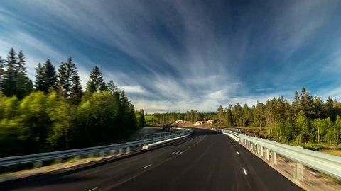 Road In Norway. Leksvik Region. Nature. 4K Time Lapse Footage