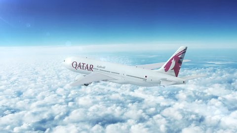 DOHA, QATAR - CIRCA APRIL, 2017: Aerial in-flight view of Qatar Airways Boeing 777 on the world's longest commercial flight journey from Doha to Auckland, New Zealand.