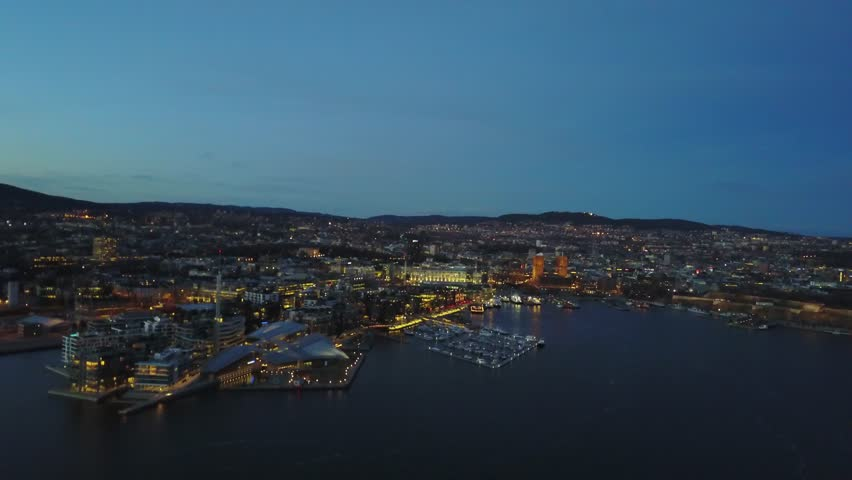 Aerial drone flying over Aker Brygge in Oslo, Norway