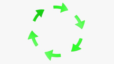 Six green rotating arrows. (loop ready with mask)