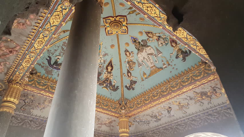 LAOS - CIRCA SEPTEMBER 2016 Hindu and Buddisht mural on ceiling in Patuxai monument, Vientiane, Laos | Shutterstock HD Video #26277059