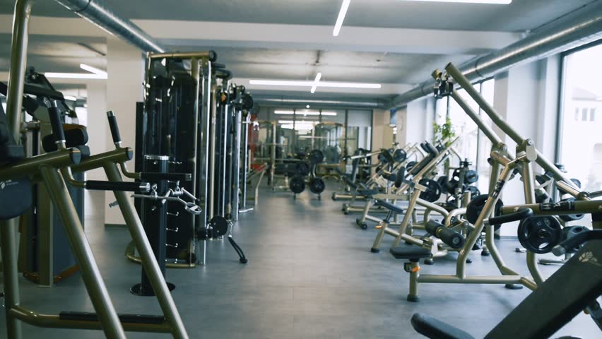 Diverse Equipment And Machines At The Gym Room Stock -5200