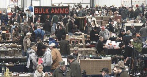 January 14, 2017, Davenport, Iowa,  Gun Show - Large Crowd - Wide Shot