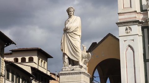 Monument to Italian poet Dante Alighieri, the Divine Comedy writer in Piazza Santa Croce, Florence, Tuscany, Italy