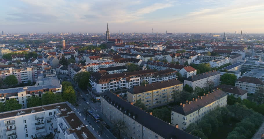 Aerial view of Munich Germany City at sunset from sky.