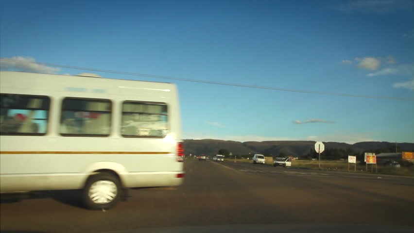 Driving through a township in the Magaliesberg, South Africa.