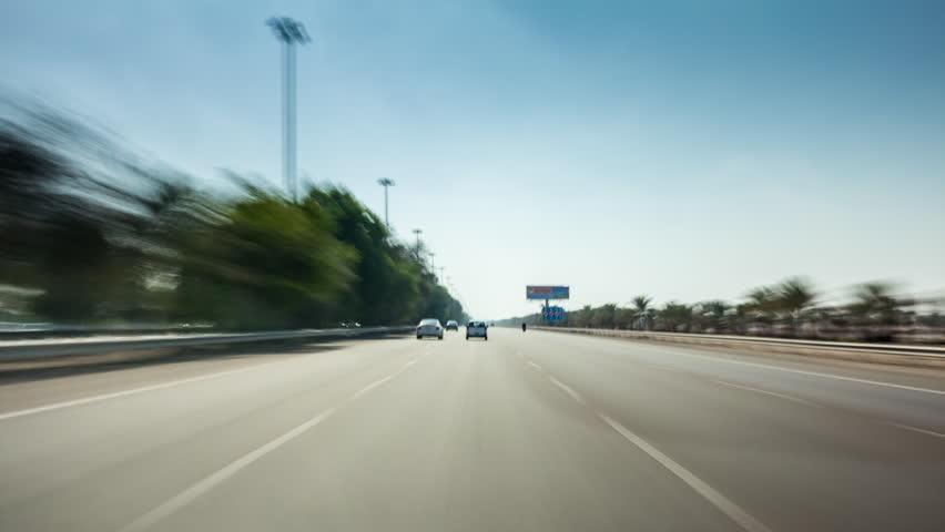 Dubai to abu dhabi sunny day road trip POV 4k time lapse uae | Shutterstock HD Video #26398919