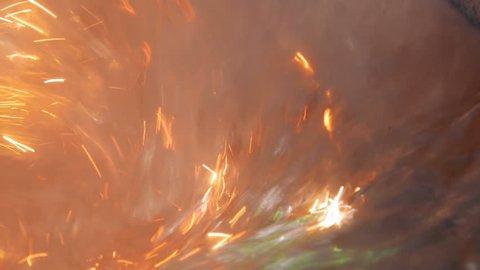 mixing red-hot aluminium in bowl in aluminium plant, close-up