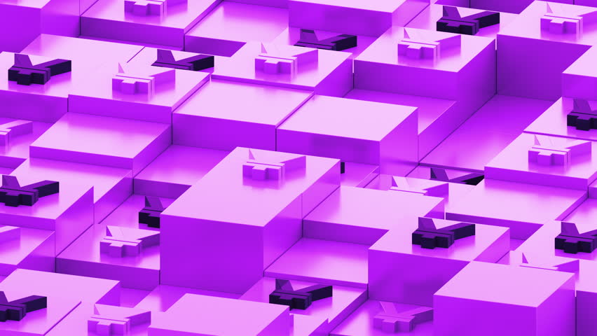 Abstract 3d render of boxes in perespective. Currency sign on the top of square primitives. Cubes with random height forms a geometric backround in dimetric perespective.    Shutterstock HD Video #26438009