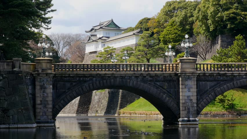 The Imperial Palace in Tokyo, Japan. The Imperial Palace is where the Japanese Emperor lives nowadays.