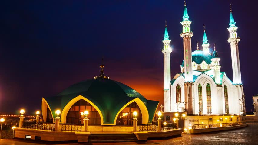 Kazan Kremlin, Russia Illuminated Qol Stock Footage Video -3586