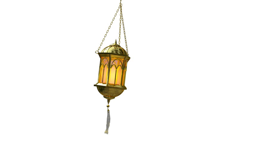 seamless loop of an islamic lantern 3d animation on white background