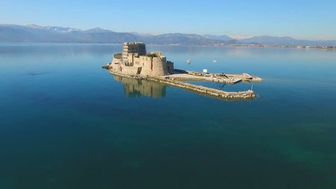 Castle on an island in the sea of Greece, near the town of Nafplio.