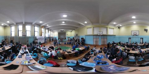 Opole/poland - Apr 25 2017: School Competition on Robotics Designing in Opole. 360Vr Video 360 Degrees, Flat Spherical Panorama. Risen Talents, Young School Children Are Creating and Programming the
