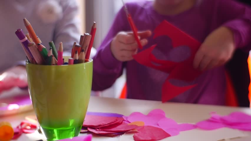 Creativity With the Child, Girls, Children Cut Out From the Red Paper With Scissors Hearts Flowers Elements For the Card For Valentine's Day, Merry Saturday, Active Parents, Create With the Child,