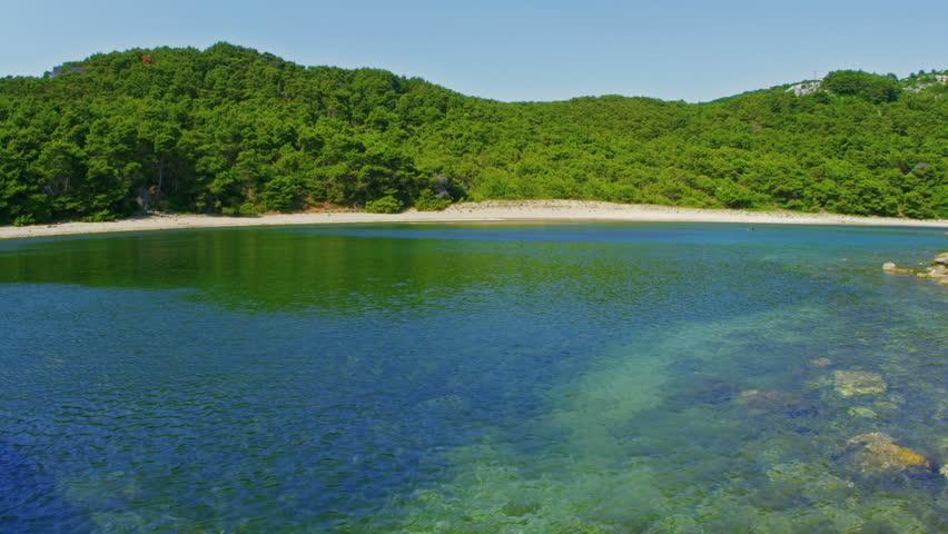 Deserted sandy beaches on the island Mljet, Dubrovnik archipelago, Croatia. Wide angle shot.