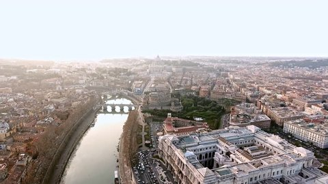 The New Rome and Vatican City Aerial View in Historical Capital Rome with Landmarks Around River Tiber in Italy 4K Ultra HD