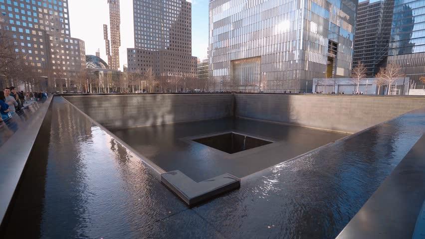 9-11 Memorial fountains at World Trade Center Manhattan New York - MANHATTAN / NEW YORK - APRIL 1, 2017