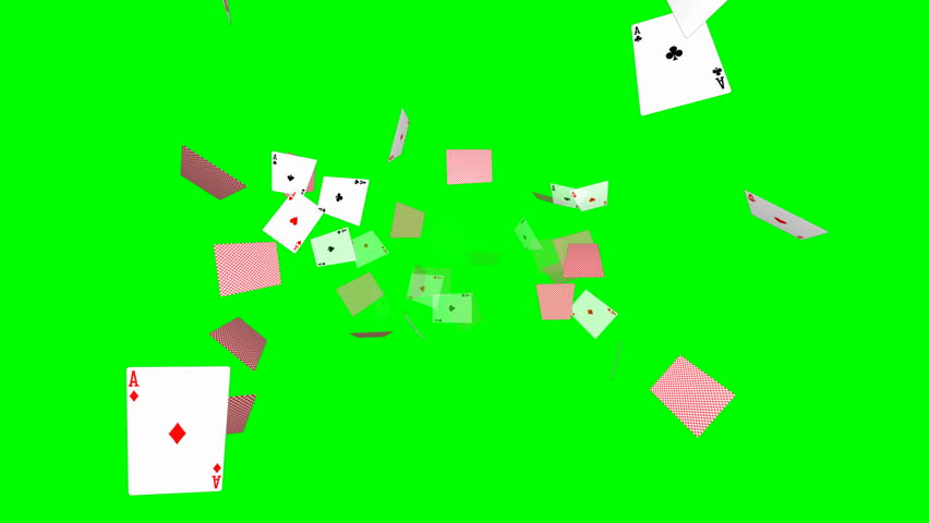 Falling poker cards background - loop, green screen, aces