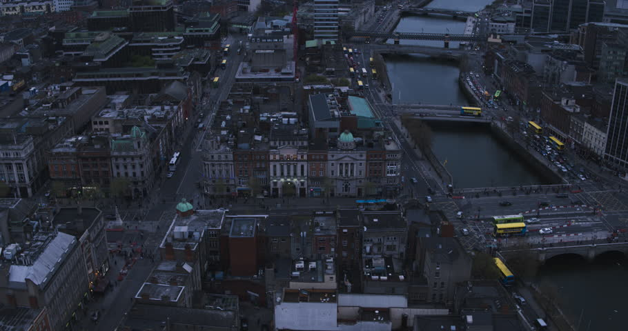 Aerial view flying over tourists in downtown Dublin | Shutterstock HD Video #26589809