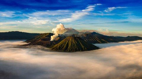 Time Lapse of Mount Bromo volcano (Gunung Bromo)in Bromo Tengger Semeru National Park, East Java, Indonesia.