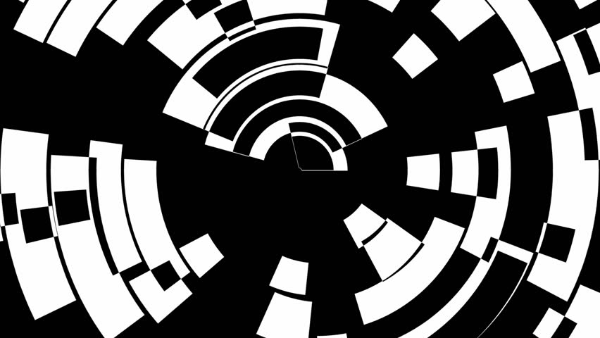 Abstract CGI motion graphics and animated background of black and white circles and dots spinning in a spiral and being trippy