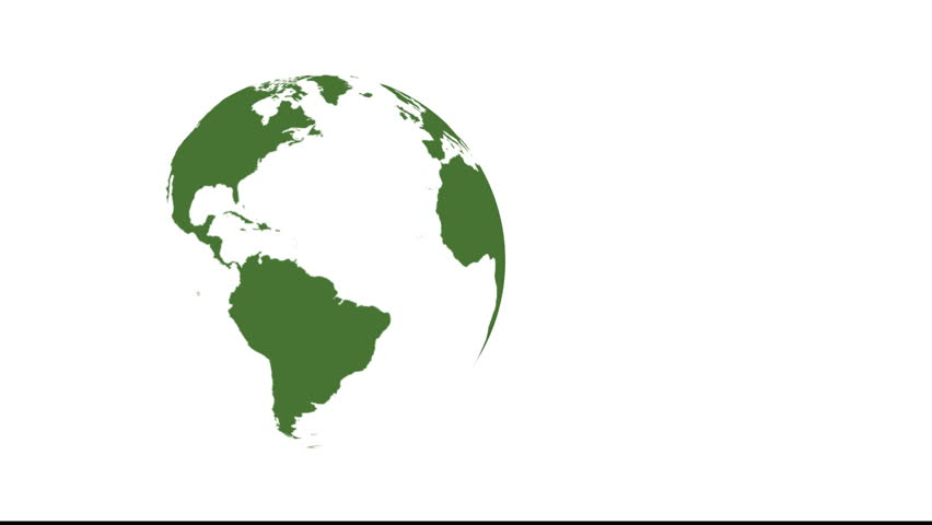 Animation of spinning green planet earth isolated on white globe of the world isolated on white looped copy space on right hd stock gumiabroncs Images